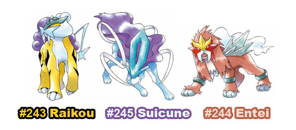 Artwork Entei, Suicune y Raikou